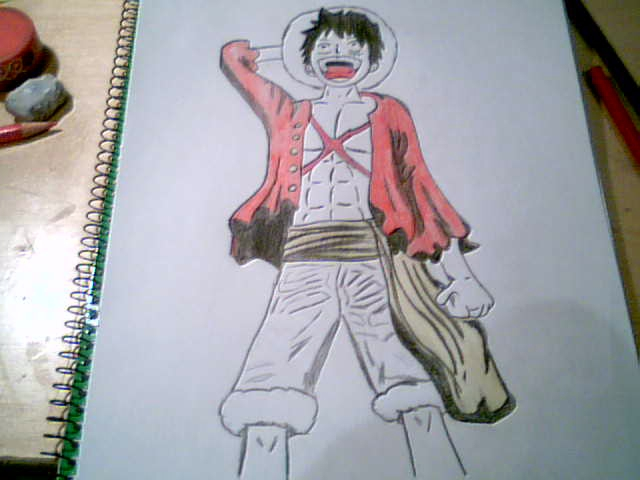 Mi dibujo one piece luffy despu s de dos a os arte for One piece dibujos